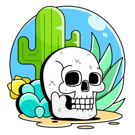 skull in the desert at sunset, vector illustration Illustration