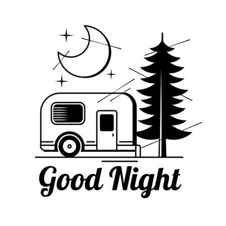 Hand drawn vector illustration - good night, card with moon Illustration