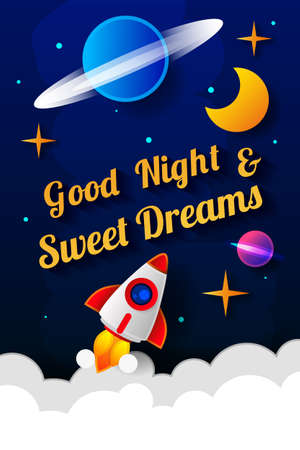 Vector illustration of wish good night on dark blue sky background with moon. Art design for web, site, advertising, banner, poster, flyer, brochure, board, card