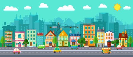 Vector City Street in a Flat Design and Set of Urban Buildings Çizim