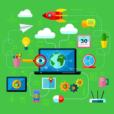 Vector Flat Internet Marketing Accessoires voor web en mobiele diensten Stockfoto - 39625395