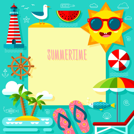 Vector Summertime Template Adventure met Travel Summer Icons Set Stock Illustratie