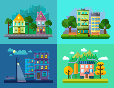 urban street: Colorful Vector Flat Urban and Village Landscapes with Nature and Mountains Illustration