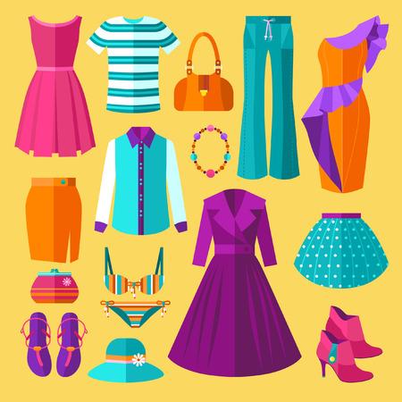 falda: Vector Mujeres Ropa Iconos plana Conjunto con el vestido y accesorios