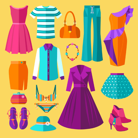 jeans skirt: Vector Women Clothes Icons Flat Set With Dress and Accessories Illustration