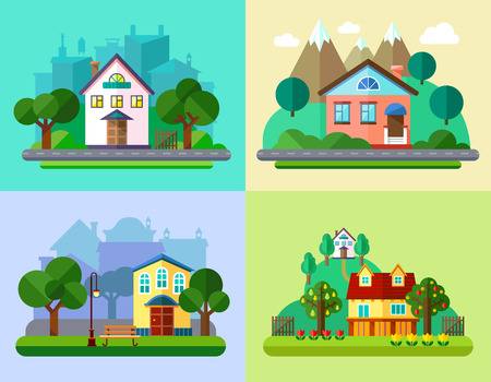 rural landscape: Colorful Flat Urban and Village Landscapes with Nature and Mountains