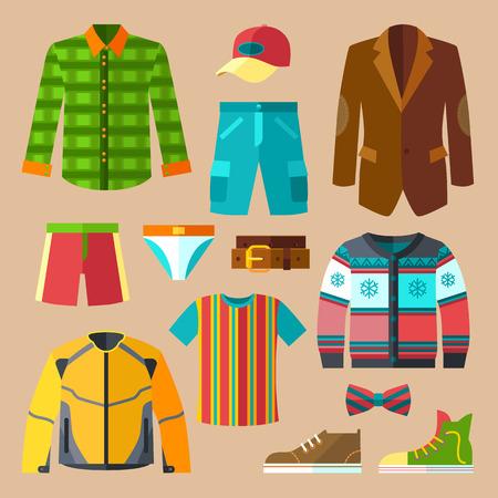 Platte kleding Pictogrammen voor mannen met toebehoren Stockfoto - 40617449