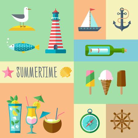 Flat Summertime Icon Set voor vakantie en toerisme Stockfoto - 40617453
