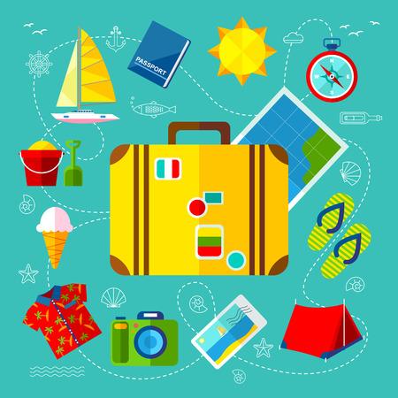Reizen Pictogrammen met dingen voor de planning van een vakantie Stockfoto - 40617604