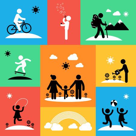 Flat van de zomer reizen iconen met volwassenen en kinderen Stockfoto - 40617605