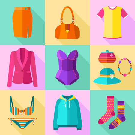 Colorful Woman Clothing Icons Set with Accessories Vector