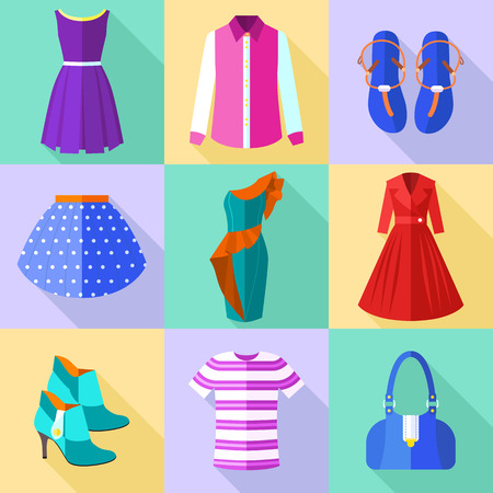 jeans skirt: Colorful Woman Clothing Icons Set with Accessories