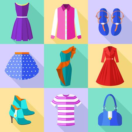 Kleurrijke Vrouw Kleding Icons Set met Accessoires Stockfoto - 40617608