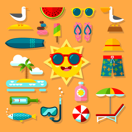 vocation: Vocation Flat Icon Set with Summer Accessories Illustration