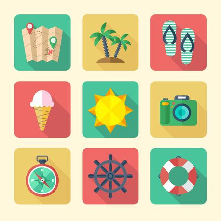 Platte Pictogrammen voor Vakantie en Toerisme Stockfoto - 40617610
