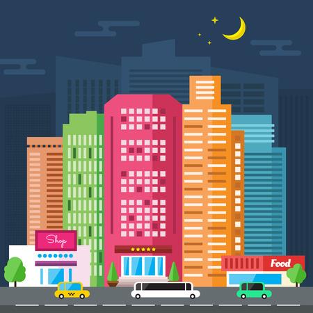 Vector Night City Straat en Set van stedelijke wolkenkrabbers Stockfoto - 40617611