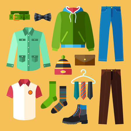 Man Clothing Icons Set With Shopping Elements Vector