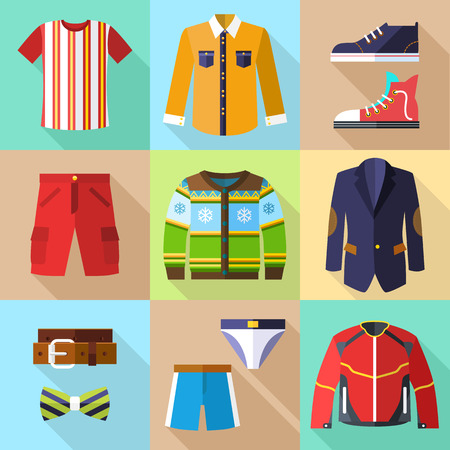 Flat Clothing Icons Set for Men with Accessories Vector