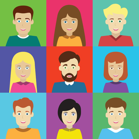 Kleurrijke Mannelijke en Vrouwelijke Avatars Icons Set Stockfoto - 40617613