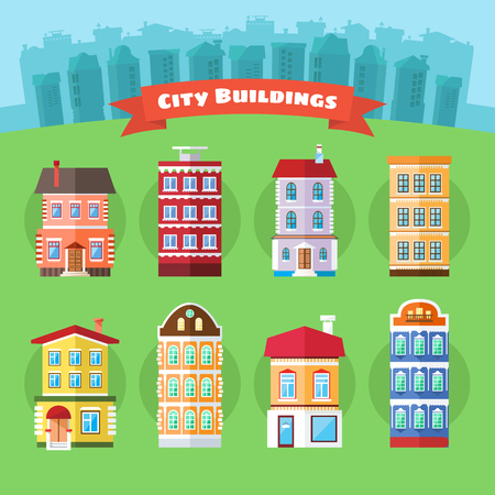 town houses: Set of City and Town Buildings, Including Various Houses