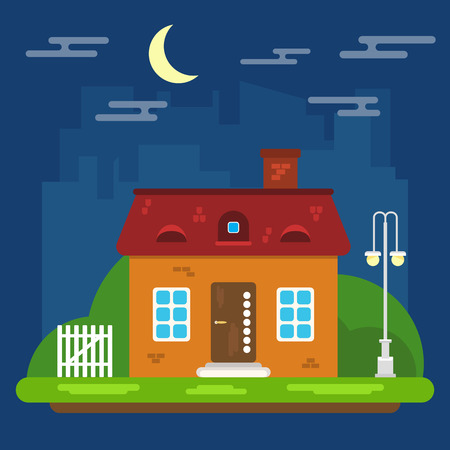Summer Night Landschap met Huis in een Flat Design