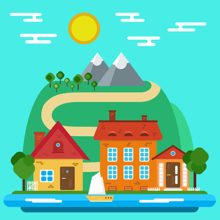 lake house: Summer Landscape with House in a Flat Design Illustration