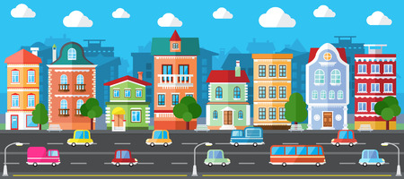 City Street in a Flat Design and Set of Urban Buildings Иллюстрация