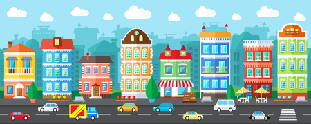 building: City Street in a Flat Design and Set of Urban Buildings Illustration