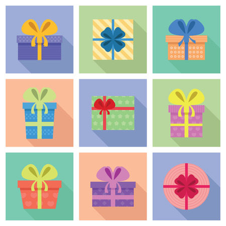 Icon Set van Cute Boxes Gift in een Flat Design