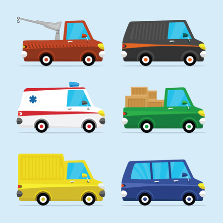 Flat Icon Set of Modern Vehicles, Including Various of Cars