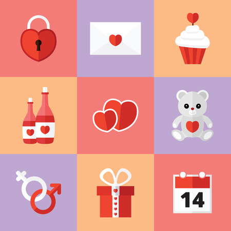 St. Valentine's Day Icons Set met Romantisch Elements Stockfoto - 62325088