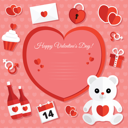 St. Valentine's Day Icons Set met Romantisch Elements