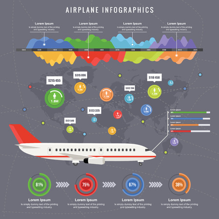 Flight Infographic of Civil Aircraft in een Flat Design