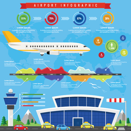 aerodrome: Airport Infographic with Passenger terminal and Airplane in a Flat Design