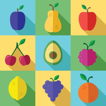 Verse Vruchten Pictogrammen Met Langschaduw In Een Vlak Design Stockfoto - 73779042