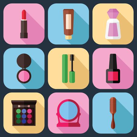 Gereedschappen voor make-up iconen in een platte stijl Stockfoto - 74179838