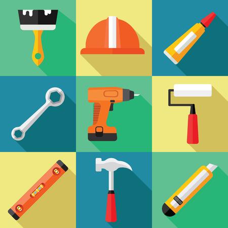 Handgereedschap Icon Set voor reparatie in een plat ontwerp Stockfoto - 73936479