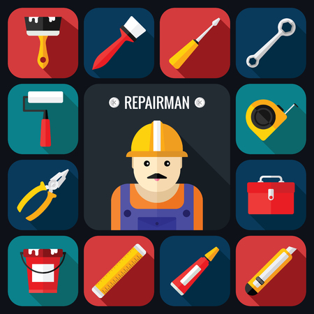 tools icon: Hand Tools Icon Set with Repairman in a Flat Design