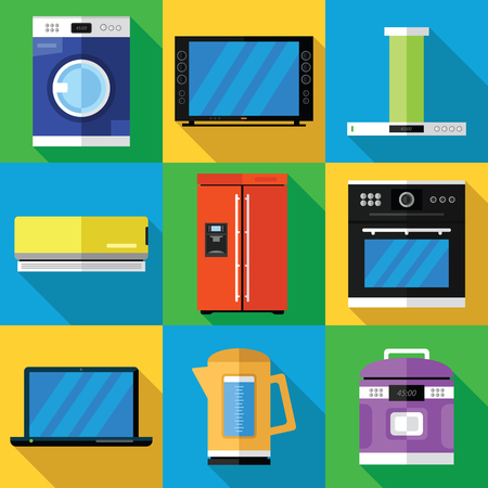 Household Appliances Icons Set in a Flat Design Illustration