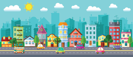 Vector City Street in a Flat Design and Set of Urban Buildings Illustration