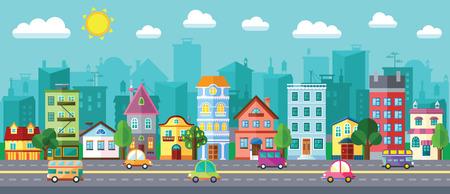 Vector City Street in een flat design en set van stedelijke gebouwen Stockfoto - 75086923