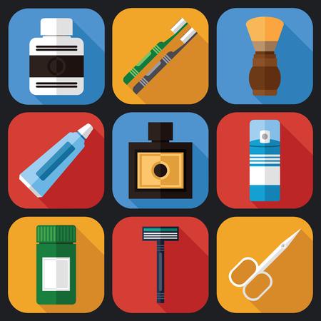 Mannen scheren iconen set en andere accessoires in een vlakke vormgeving Stockfoto - 75083369