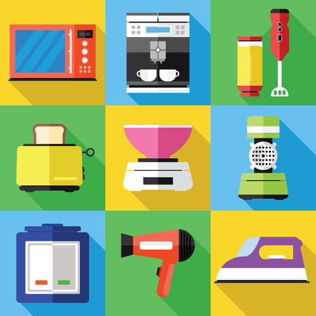 Huishoudtoestellen Pictogrammen In Een Flat Design. Stockfoto - 75566741