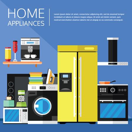 Huishoudelijke apparaten en elektronica in een flat design. Stockfoto - 75566738