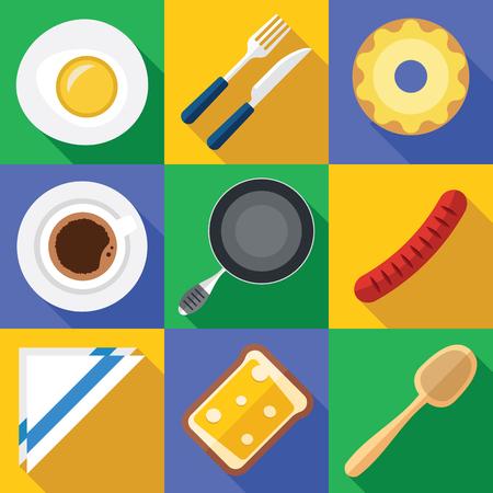 Vector Ontbijt Icon Set Met Vers Voedsel In Een Flat Design Stockfoto - 78540805