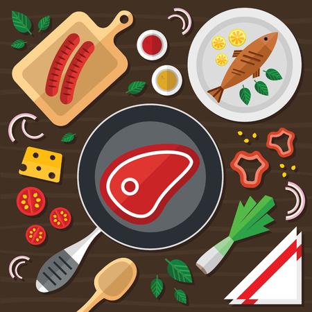 Koken Concept Illustratie Met Vers Voedsel In Een Vlak Design Stockfoto - 78540801