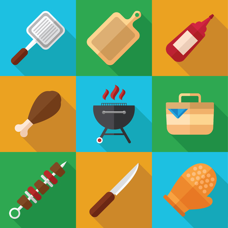 grill meat: Summer Picnic and Barbecue Food Icon Set in a Flat Design