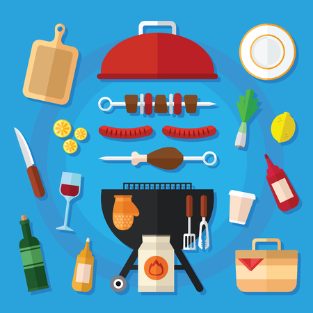 plate: Summer Picnic and Barbecue Food Icon Set in a Flat Design