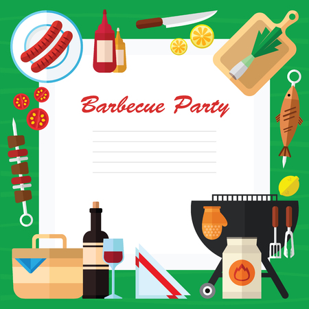 Zomer Picknick en Barbecue Eten Illustratie In Een Flat Design Stockfoto - 78540804