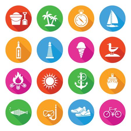 Kleurrijke zomer vakantie en toerisme pictogrammenset met lange schaduwen Stockfoto - 78540820